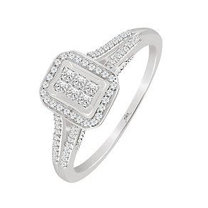 9ct White Gold 1/4 Carat Diamond Rectangular Princessa Ring - Product number 4197488