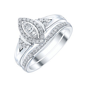 9ct White Gold 1/3ct Diamond Ring Bridal Set - Product number 4197615