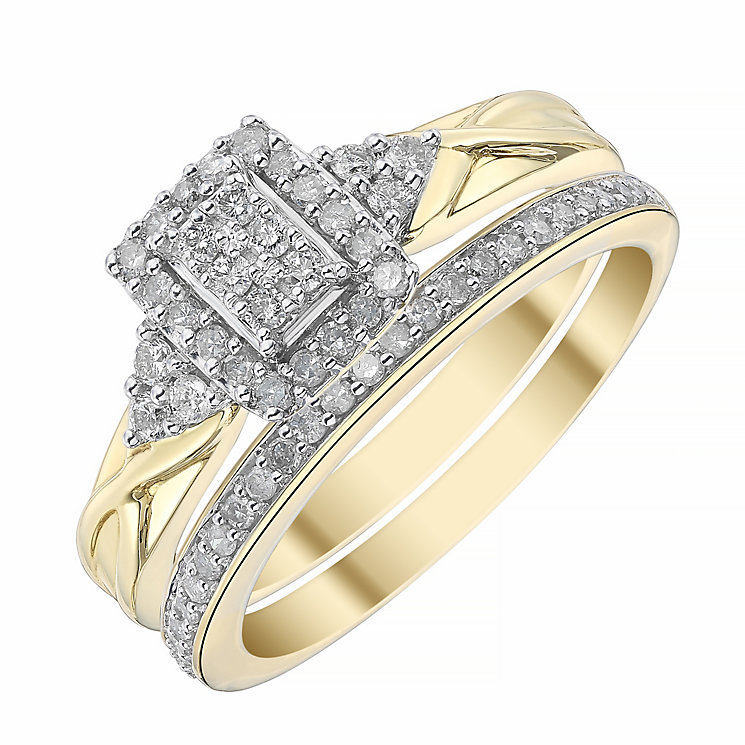 9ct Yellow Gold Rectangular 1/3ct Diamond Ring Bridal Set - Product number 4198034