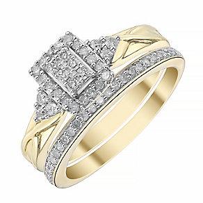9ct Yellow Gold Rectangular 1/3ct Diamond Ring Bridal Set - Product number 4198034
