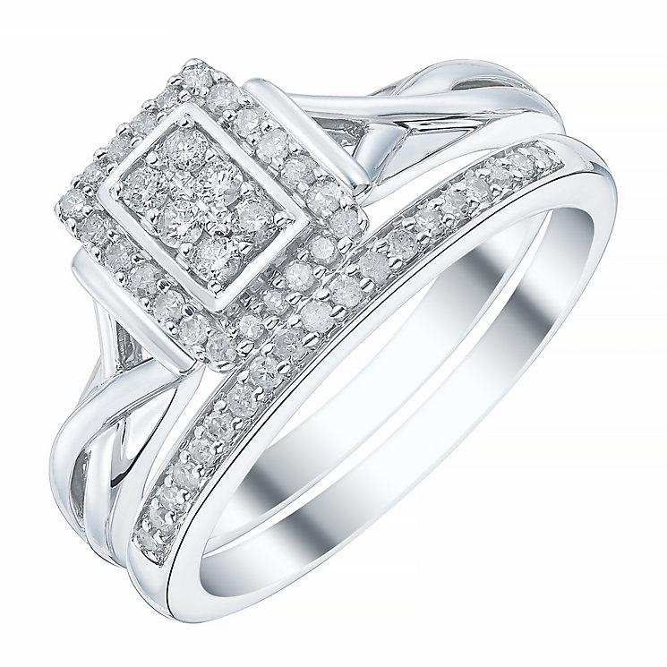 9ct White Gold Rectangular 1/4ct Diamond Ring Bridal Set - Product number 4198166