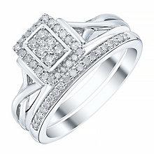 9ct White Gold Rectangular 1/4ct Diamond Ring Bridal Set - Product number 4198166