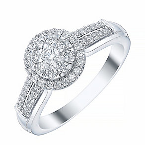 18ct White Gold Round 1/3ct Diamond Cluster Ring - Product number 4198301