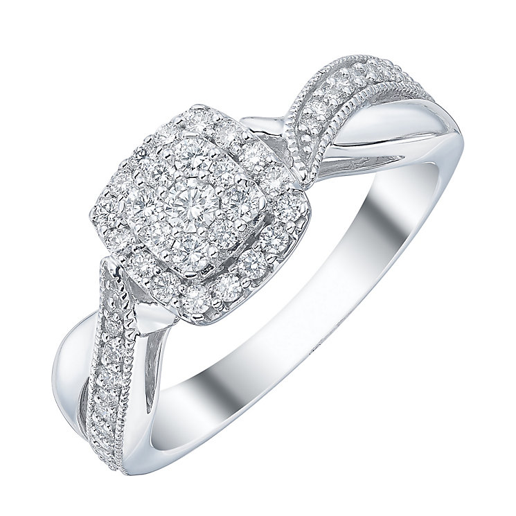 18ct White Gold 1/3ct Diamond Cushion Shape Bridal Ring - Product number 4198433