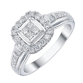 18ct White Gold 1/2ct Diamond Princess Cut Bridal Ring - Product number 4198565