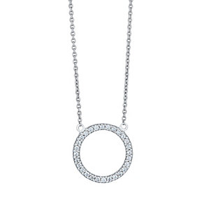 Silver Cubic Zirconia Circle Necklace - Product number 4198751