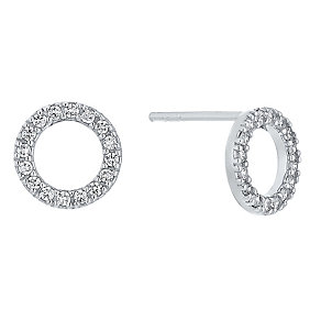 Silver Cubic Zirconia Circle Stud Earrings - Product number 4198778
