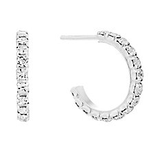 Silver White Crystal Half Hoop Earrings - Product number 4199197