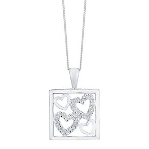 "Silver 18"" White Cubic Zirconia Heart & Square Pendant - Product number 4199413"