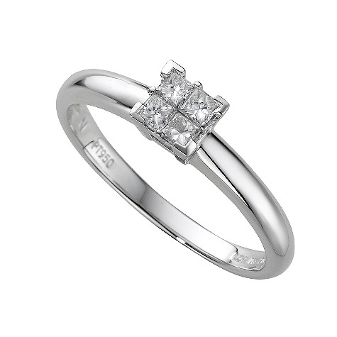 Platinum fifth carat princess cut diamond ring
