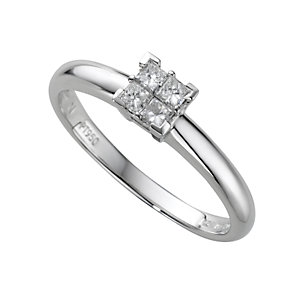 Platinum fifth carat princess cut diamond ring - Product number 4203941