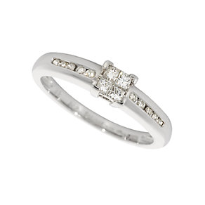 Platinum quarter carat princess cut diamond ring - Product number 4204093