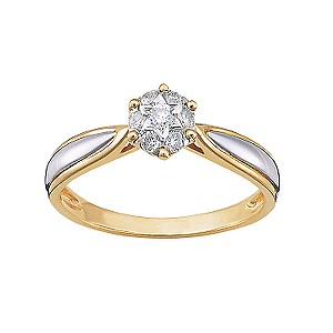 18ct two-colour gold diamond ring - Product number 4205146