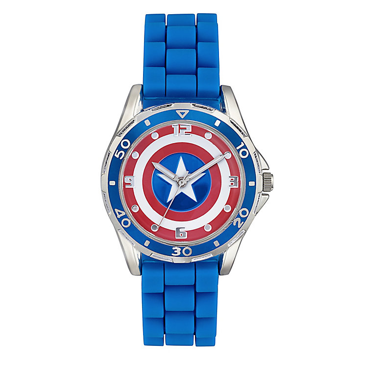 Children's Captain America Shield Blue Strap Watch - Product number 4211332