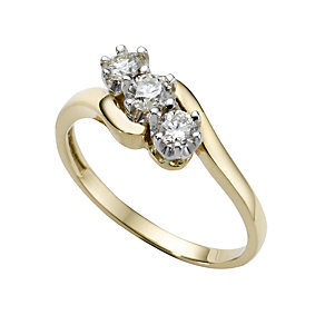 18ct gold half carat diamond three stone ring - Product number 4213106