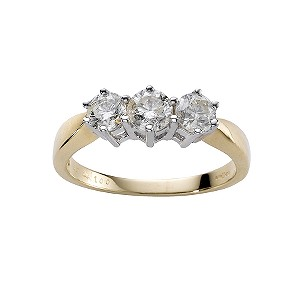 18ct gold one carat diamond three stone ring - Product number 4213408