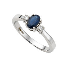 9ct white gold sapphire and diamond ring - Product number 4215079