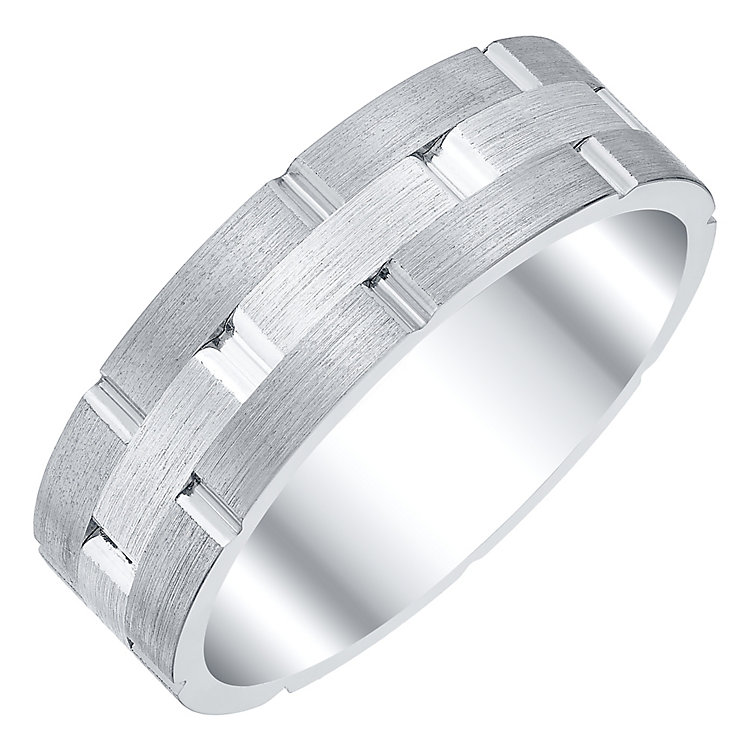Men's Silver & Titanium 7mm Ring - Product number 4222024