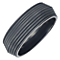 Men's Black Titanium 8mm Ridged Band - Product number 4222210