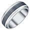 Men's Titanium and Black Titanium 8MM Ridged Band - Product number 4222229