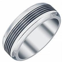 Men's Titanium and Black Titanium 8MM Ridged Band - Product number 4222229