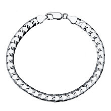 "Men's Silver 8"" Flat Square Curb Bracelet - Product number 4222571"