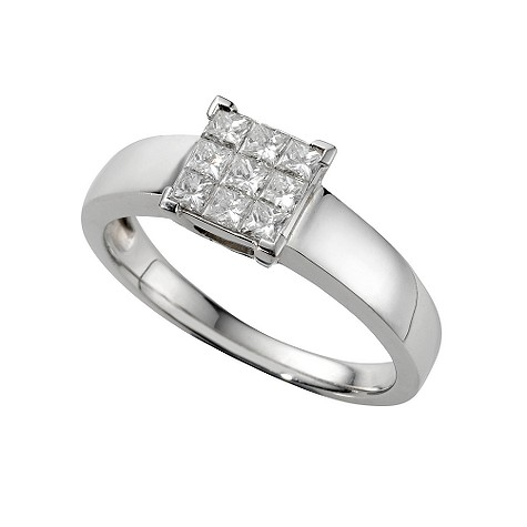 18ct white gold half carat princess cut diamond cluster ring