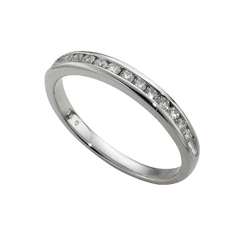 Platinum quarter carat diamond half-eternity ring