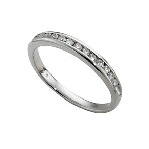 Platinum quarter carat diamond half-eternity ring - Product number 4228502