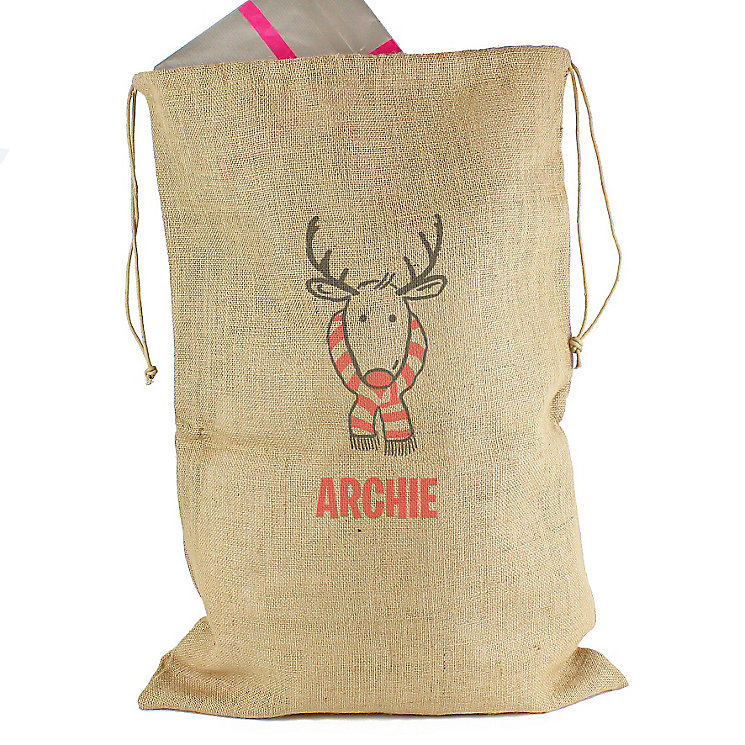 Personalised Retro Reindeer Hessian Christmas Sack - Product number 4229460