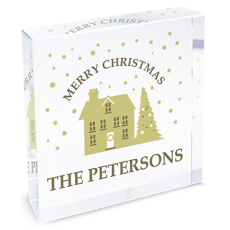 Personalised Festive Village Large Crystal Token - Product number 4229827