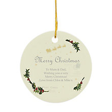 Personalised Traditional Christmas Round Ceramic Decoration - Product number 4229886