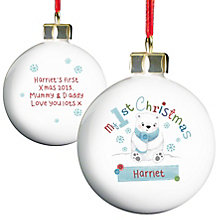Personalised Polar Bear My 1st Chistmas Bauble - Product number 4230027