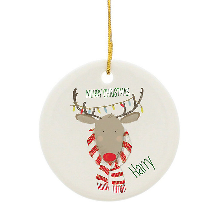 Personalised Retro Reindeer Round Ceramic Decoration - Product number 4230248