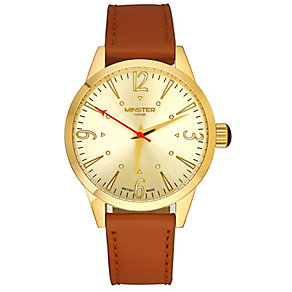 Minster Crofton Men's Gold-plated Round Strap Watch - Product number 4230426