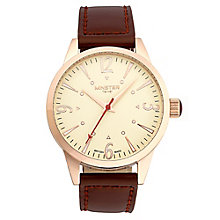 Minster Crofton Men's Rose Gold-plated Round Strap Watch - Product number 4230434