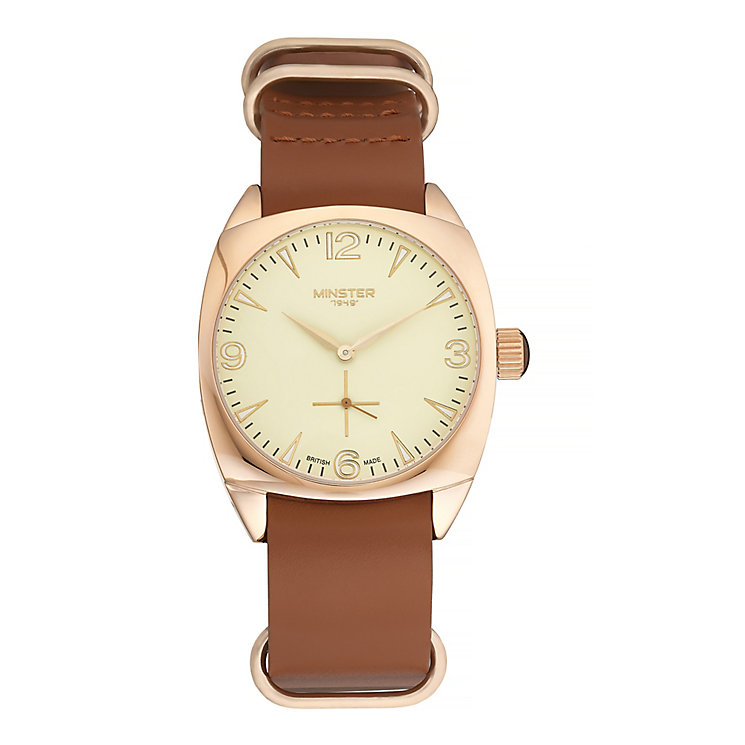 Minster Burlingham Men's Rose Gold-plated Strap Watch - Product number 4230655
