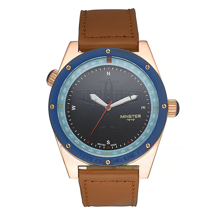 Minster Fryston Men's Rose Gold-plated Round Strap Watch - Product number 4232186