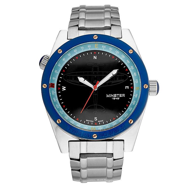 Minster Fryston Men's Stainless Steel Round Strap Watch ...