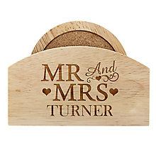Personalised Mr & Mrs Coaster Set - Product number 4232380