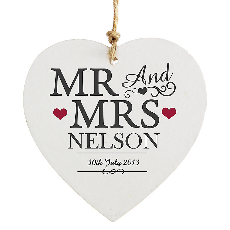 Personalised Mr & Mrs Wooden Heart Decoration - Product number 4232445