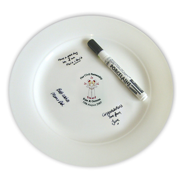 Personalised Female Civil Partnership Message Plate - Product number 4232577