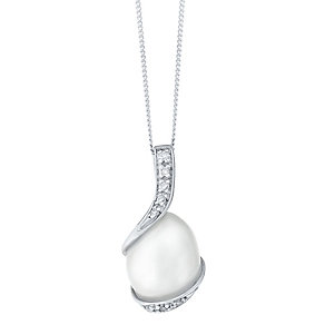 9ct White Gold Cultured Freshwater Pearl & Diamond Pendant - Product number 4232674