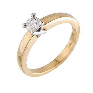 18ct Two Colour Gold Third Carat Diamond Solitaire Ring