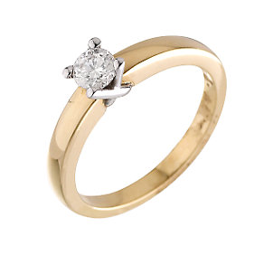 18ct Two Colour Gold Third Carat Diamond Solitaire Ring - Product number 4236238