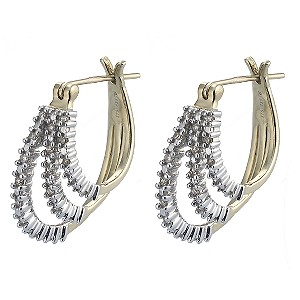 9ct Gold Quarter Carat Diamond Hoop Earrings - Product number 4241231