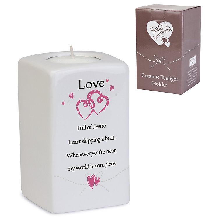 Love' Ceramic Rectangular Tea Light Holder - Product number 4246284