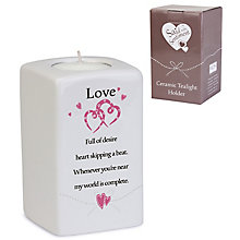 Love' Ceramic Rectangular Tea Light Holder - Product number 4246284