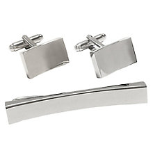 Rhodium-Plated Curved Cufflinks & Tie Slide Set - Product number 4249607