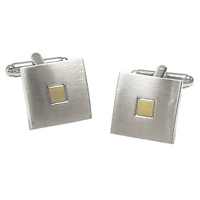 Brushed Rhodium-Plated & Gold-Plated Square Cufflinks - Product number 4249615